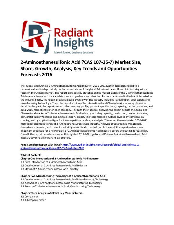2-Aminoethanesulfonic Acid ?CAS 107-35-7) Market Share 2016 2-Aminoethanesulfonic Acid ?CAS 107-35-7) Market