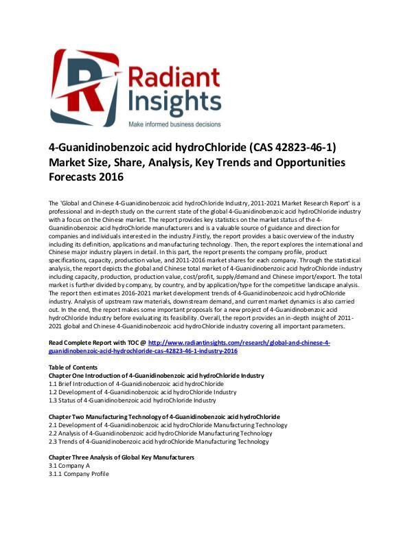 4-Guanidinobenzoic acid hydroChloride (CAS 42823-46-1) Market Size 4-Guanidinobenzoic acid hydroChloride Market