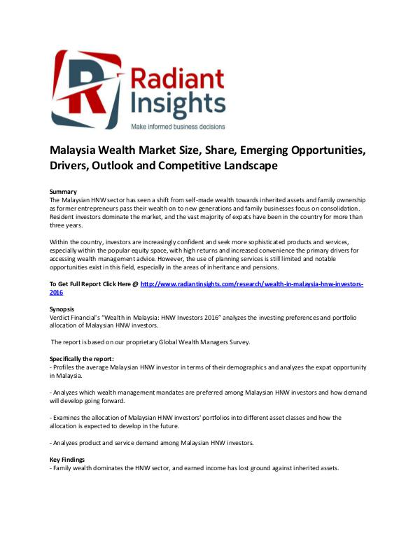 Malaysia Wealth Market Size, Share, Emerging Opportunities 2016 The Malaysian HNW sector