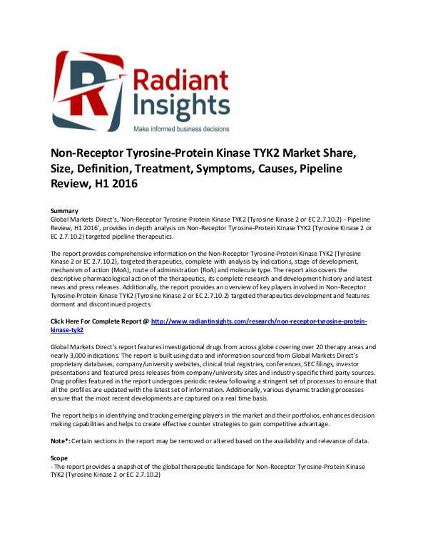 Non-Receptor Tyrosine-Protein Kinase TYK2 Market Share, Size H1 2016 Non-Receptor Tyrosine-Protein Kinase TYK2