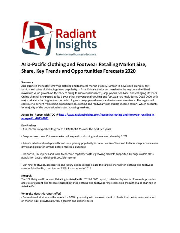 Asia-Pacific Clothing and Footwear Retailing Market Share 2020 Nov 2016