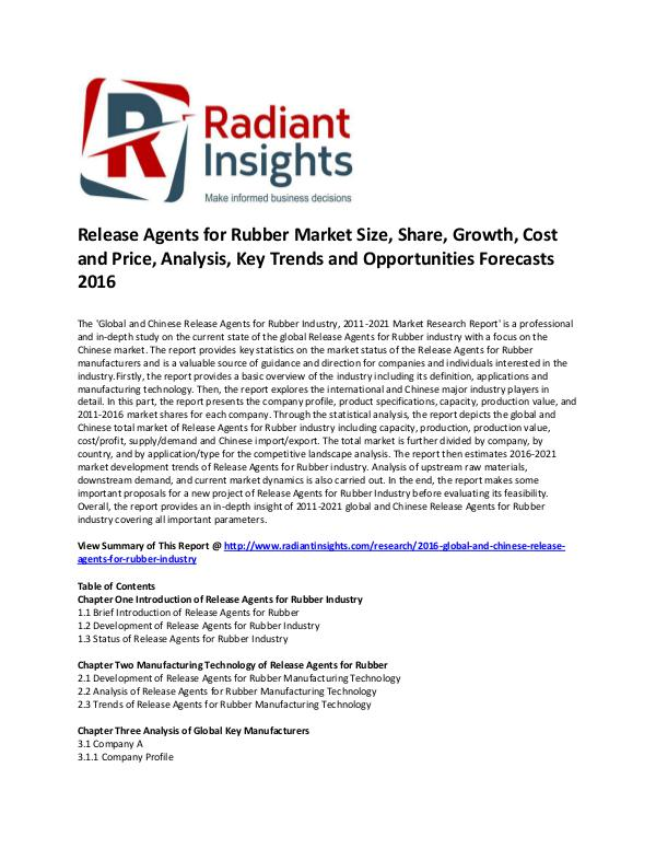 Release Agents for Rubber Market Size, Forecasts 2016 dec 2016