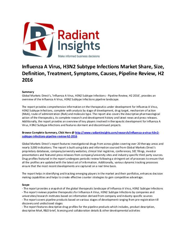 Influenza A Virus, H3N2 Subtype Infections Market