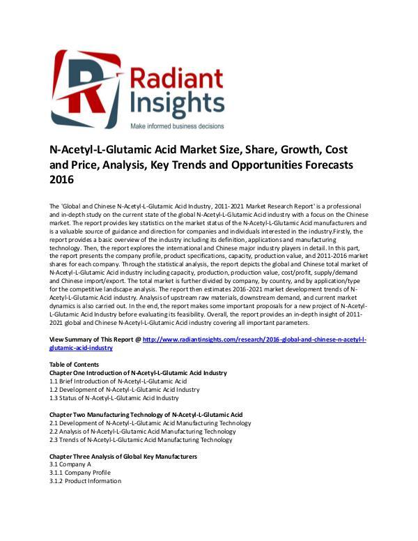 N-Acetyl-L-Glutamic Acid Industry