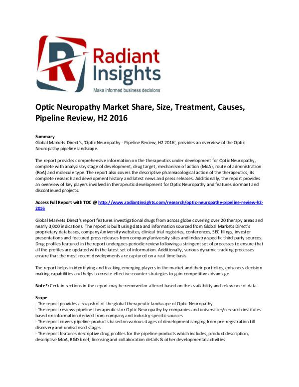 Pharmaceuticals and Healthcare Reports 'Optic Neuropathy Market