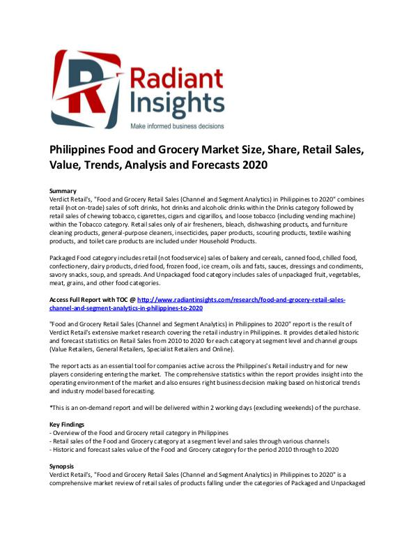 Consumer Goods Research Reports by Radiant Insights Philippines Food and Grocery Market