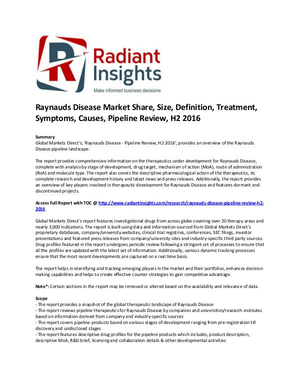 Pharmaceuticals and Healthcare Reports Raynauds Disease Market