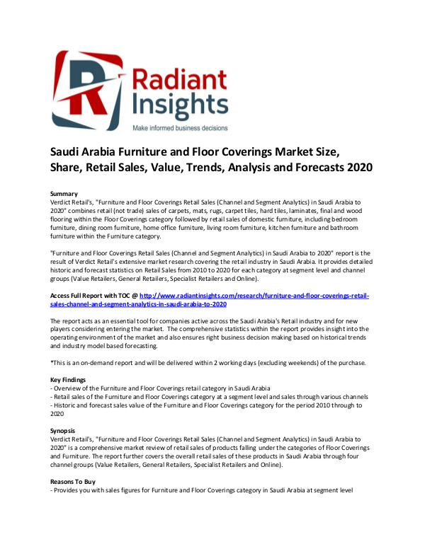 Consumer Goods Research Reports by Radiant Insights Saudi Arabia Furniture and Floor Coverings Market
