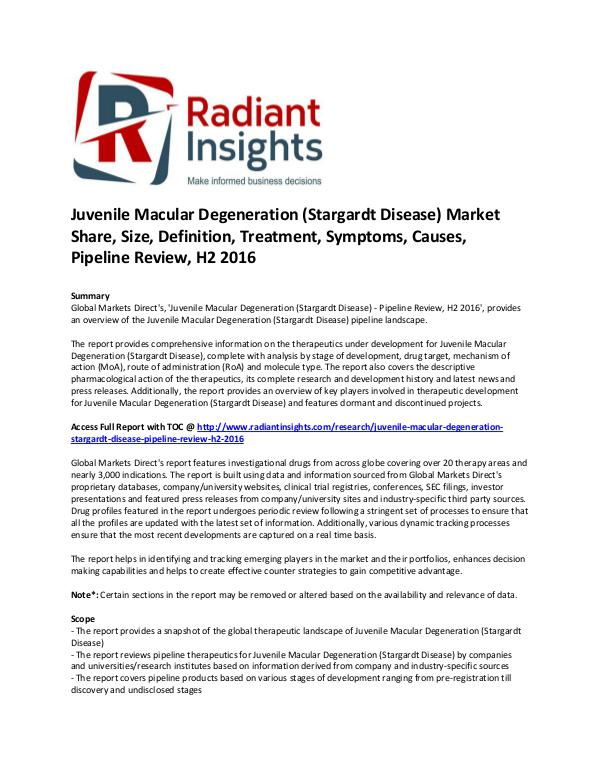 Pharmaceuticals and Healthcare Reports Juvenile Macular Degeneration (Stargardt Disease)
