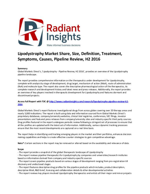 Pharmaceuticals and Healthcare Reports 'Lipodystrophy Market