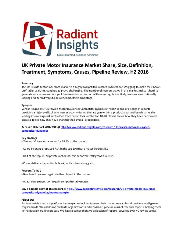 Consumer Goods Research Reports by Radiant Insights UK Private Motor Insurance market