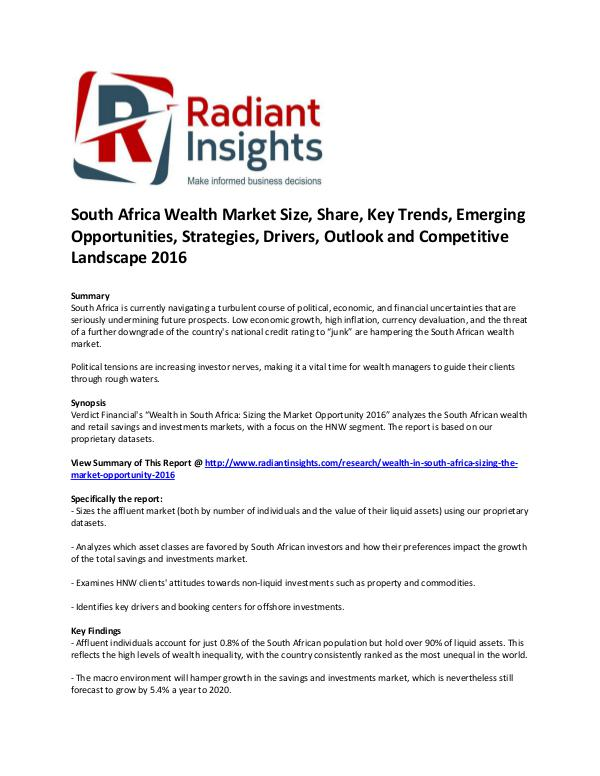 Financial Services Related Reports South Africa Wealth Market