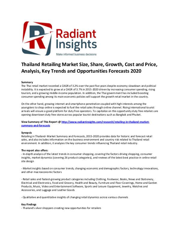 Consumer Goods Research Reports by Radiant Insights Thailand Retailing Market