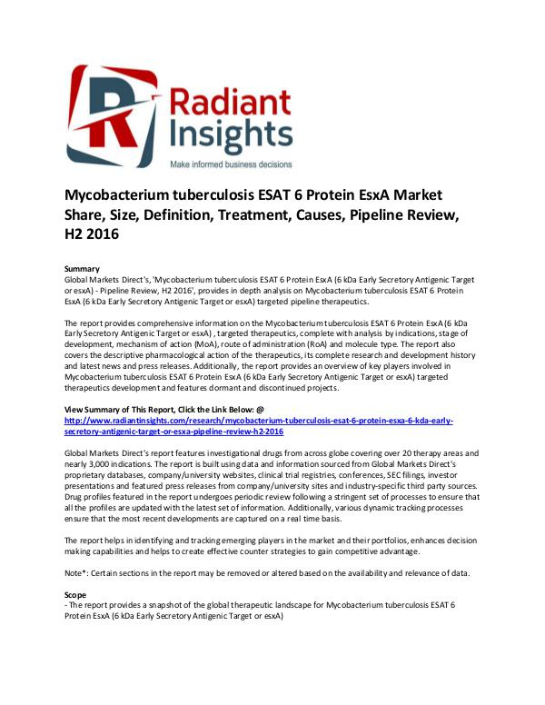 Pharmaceuticals and Healthcare Reports Mycobacterium tuberculosis ESAT 6 Protein EsxA