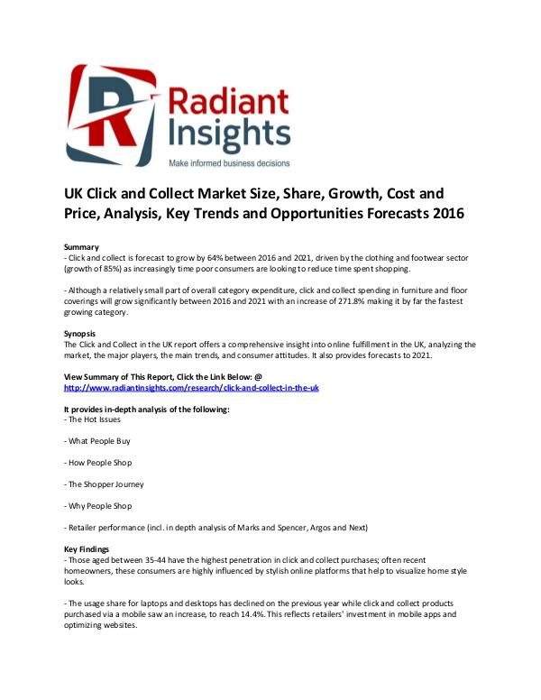 Consumer Goods Research Reports by Radiant Insights Click and Collect Market