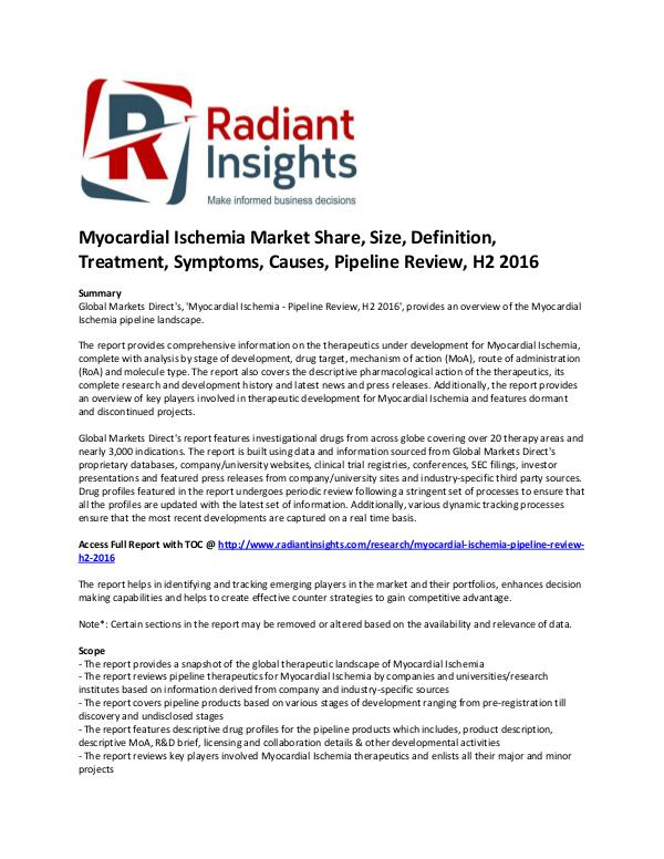 Pharmaceuticals and Healthcare Reports Myocardial Ischemia Market