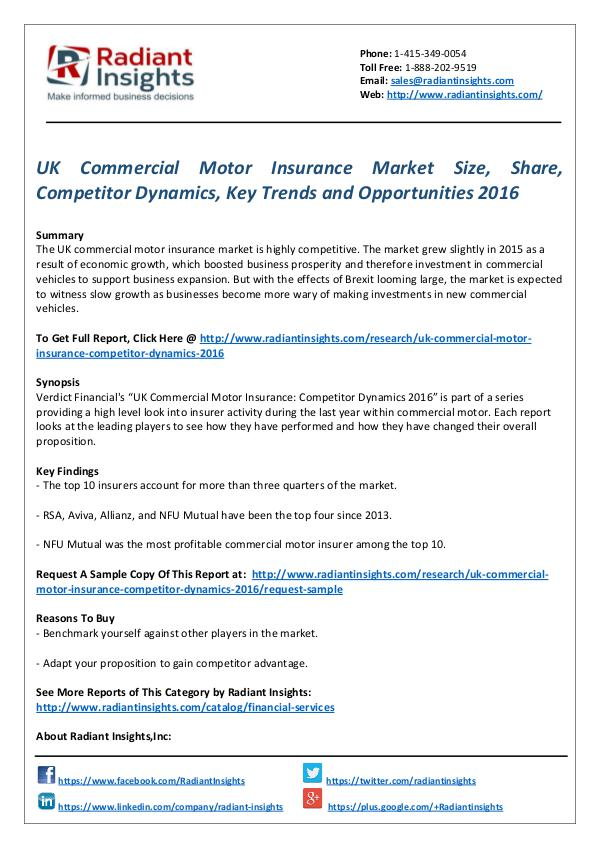 Financial Services Related Reports UK commercial motor insurance market