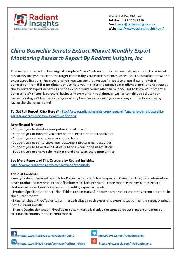 Chemicals and Materials Research Reports China Boswellia Serrata Extract Market