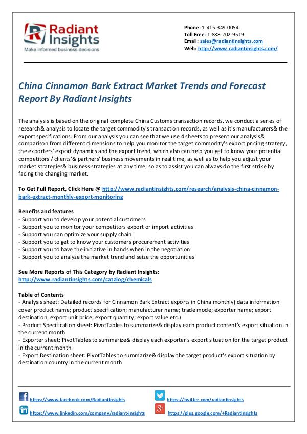 Chemicals and Materials Research Reports China Cinnamon Bark Extract Market