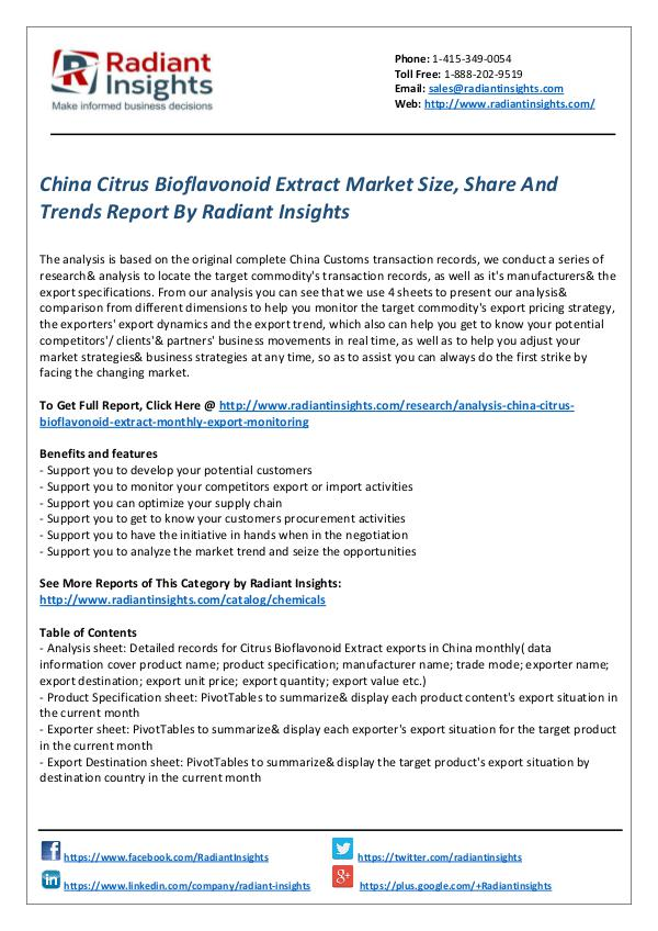 Chemicals and Materials Research Reports China Citrus Bioflavonoid Extract Market
