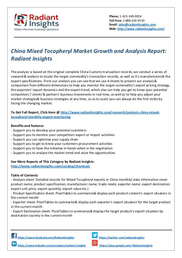 Chemicals and Materials Research Reports China Mixed Tocopheryl Market