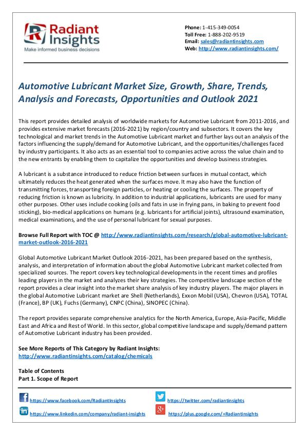 Chemicals and Materials Research Reports Automotive Lubricant Market
