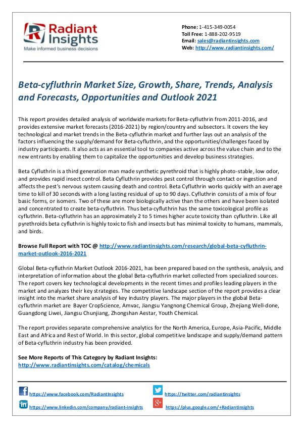 Chemicals and Materials Research Reports Beta-cyfluthrin Market