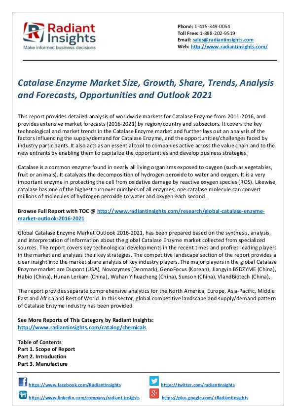 Chemicals and Materials Research Reports Catalase Enzyme Market
