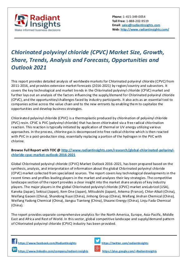 Chemicals and Materials Research Reports Chlorinated polyvinyl chloride (CPVC) Market