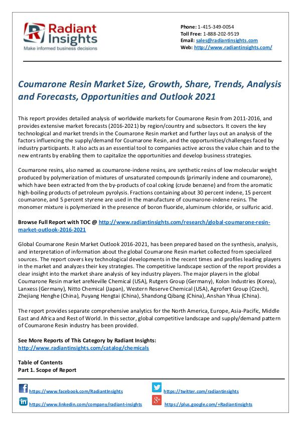Chemicals and Materials Research Reports Coumarone Resin Market