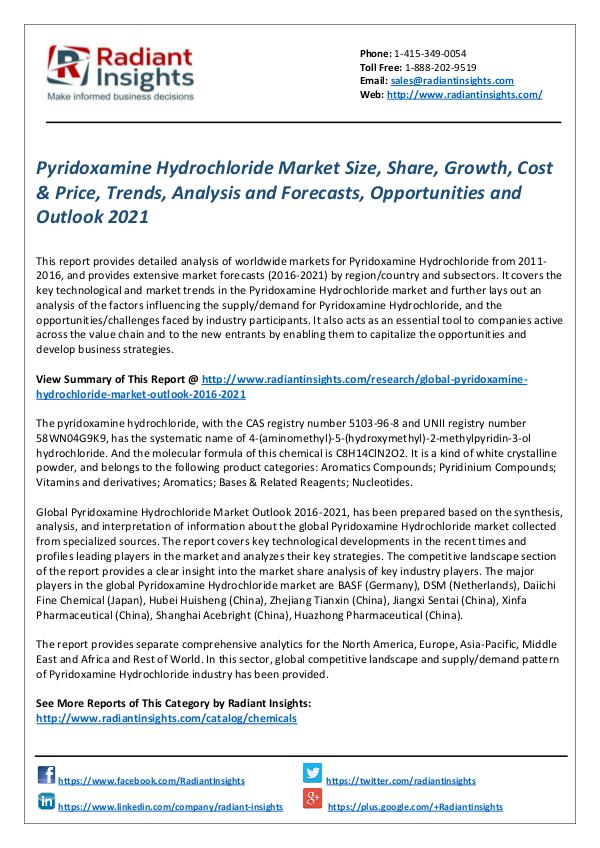 Chemicals and Materials Research Reports Pyridoxamine Hydrochloride Market