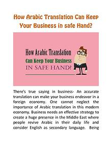 How Arabic Translation Can Keep Your Business in safe Hand?