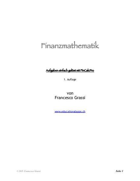 Finanzmathematik, Aufgaben und Lösungen
