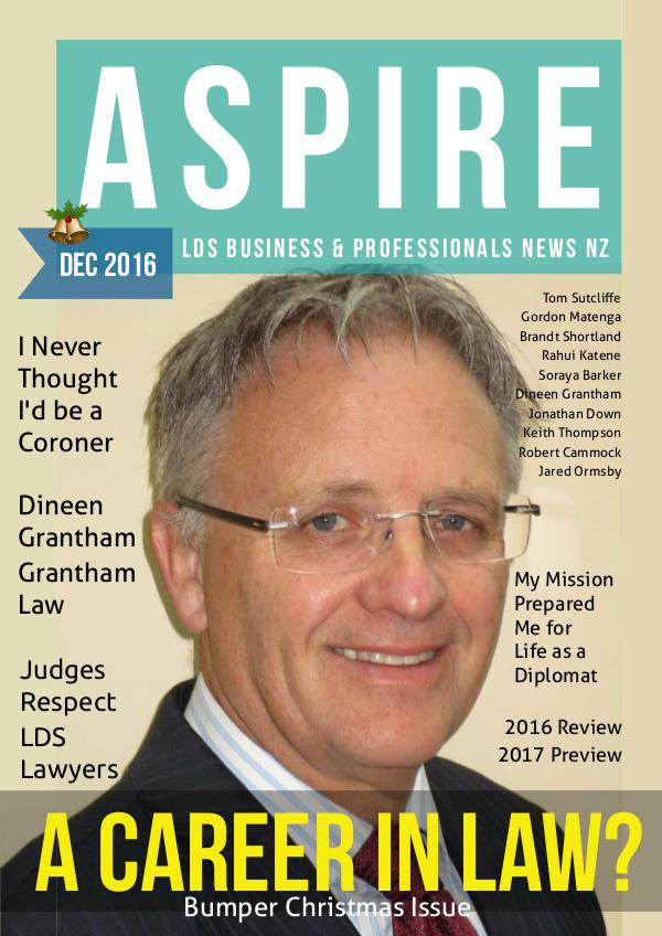 Aspire - LDS Business & Professionals' News NZ Issue #26, Dec 2016