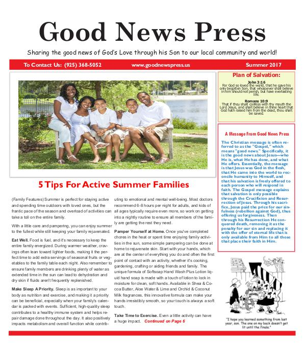 Good News Press Summer 2017 Good News Press Summer 2017