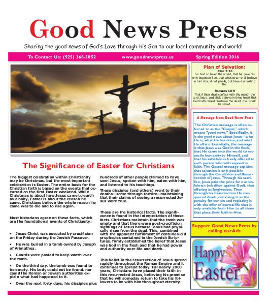 Good News Press January/February 2016 Good News Press Spring 2016
