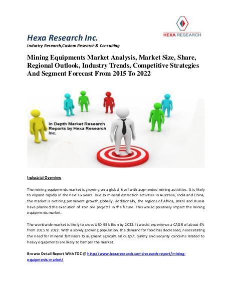 Mining Equipments Market Analysis, Market Size, Share, Regional Outlo 2015