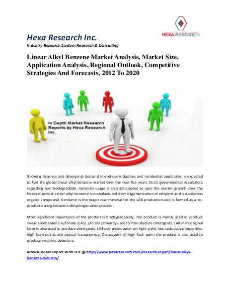 Linear Alkyl Benzene Market Analysis, Market Size, Application Analys 2012 To 2020