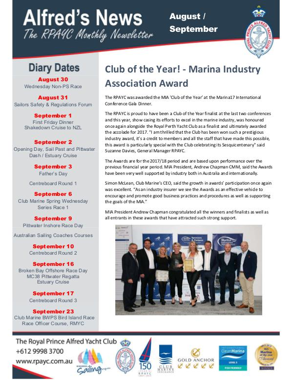 The Alfred's News August/September Edition 2017 Alfreds News August 2017