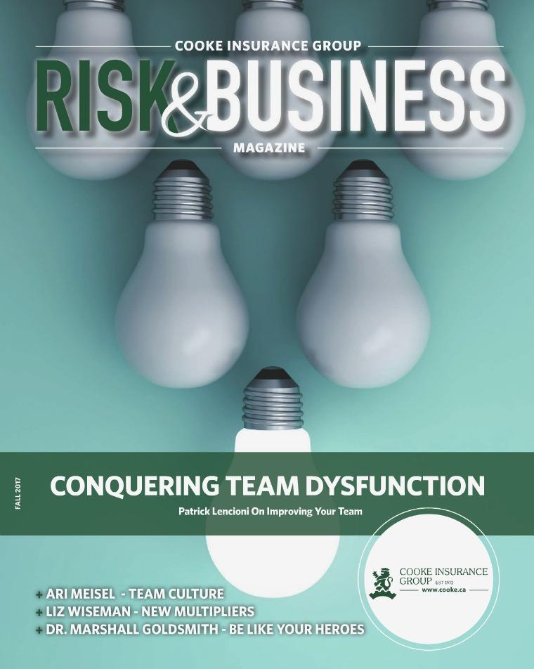 Risk & Business Magazine Cooke Insurance Risk & Business Magazine Fall 2017