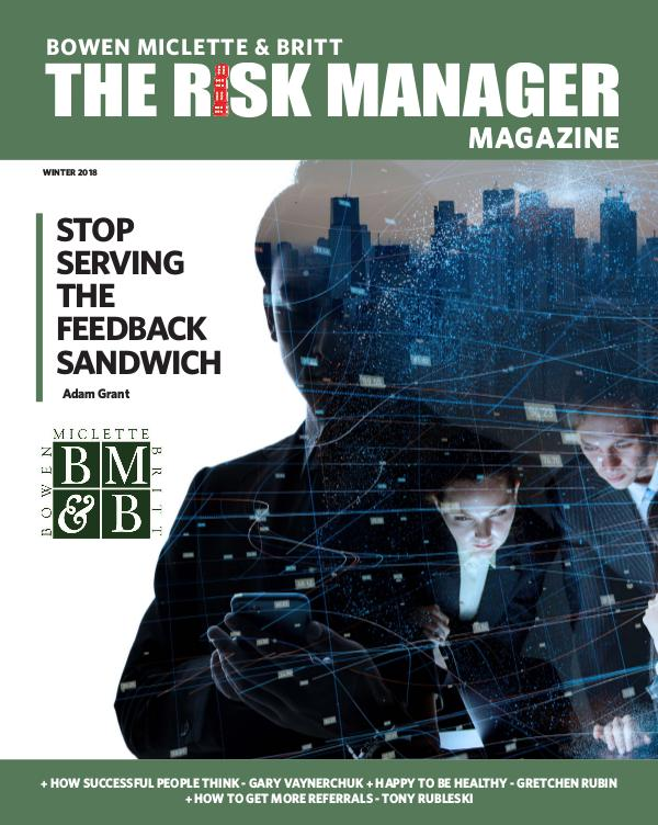 Risk & Business Magazine Bowen Miclette & Britt Magazine