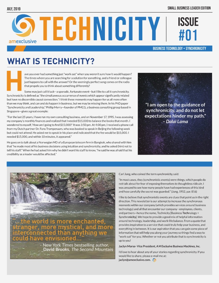 AM Exclusive Technicity Newsletter - A M Exclusive