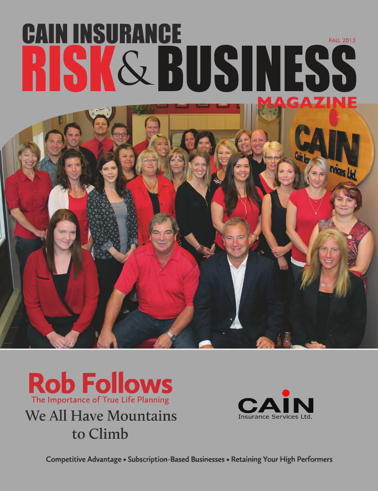 Risk & Business Magazine Cain Insurance Fall 2015