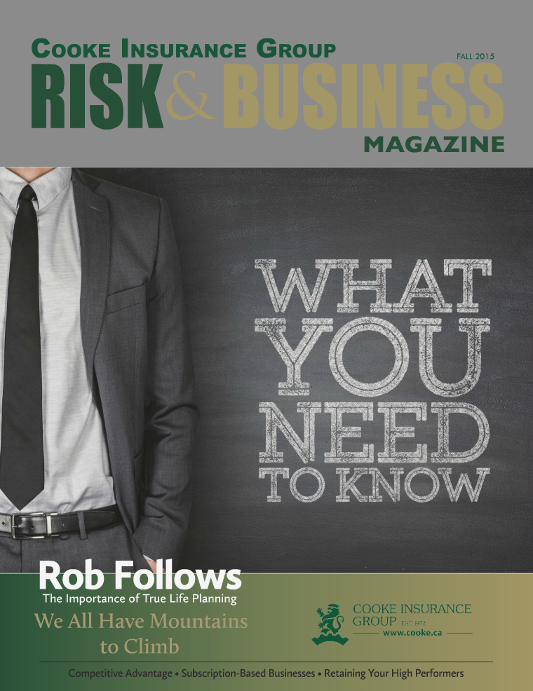 Risk & Business Magazine Cooke Insurance Group Fall 2015