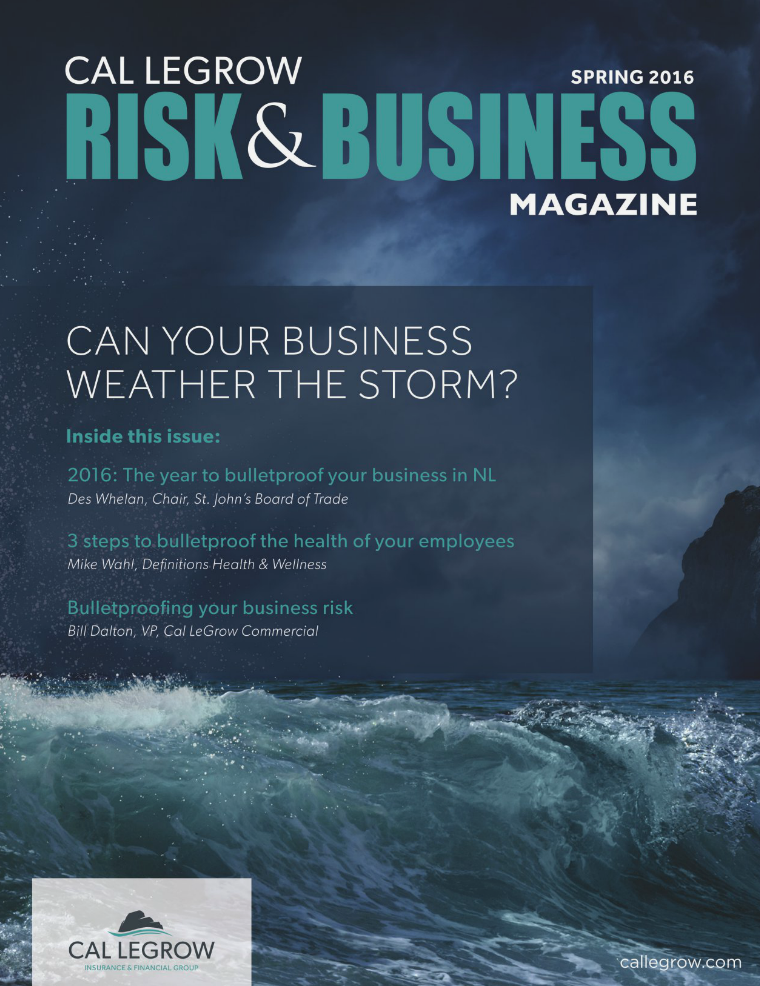 Risk & Business Magazine Cal LeGrow Spring 2016