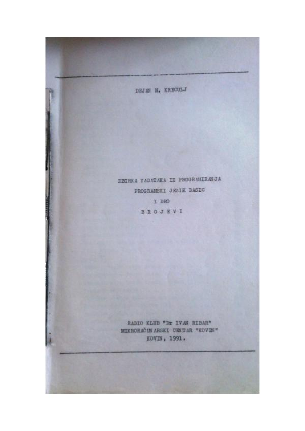 Moje knjige Zbirka BASIC