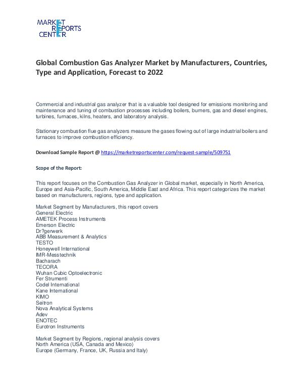 Combustion Gas Analyzer Market By Trends, Growth, Demand and Forecast Combustion Gas Analyzer Market By Trends, Growth,
