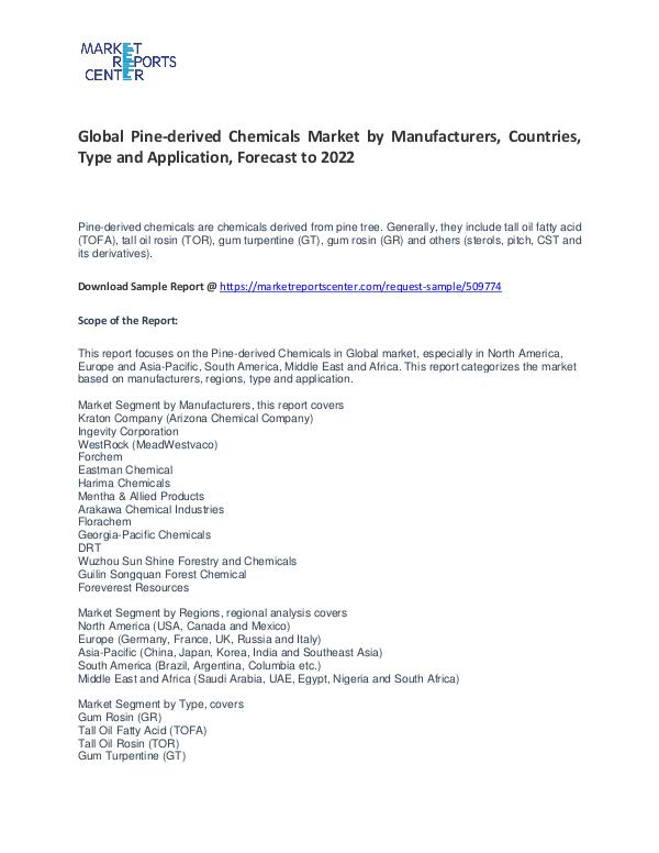 Pine-derived Chemicals Market Research Report Analysis To 2022 Pine-derived Chemicals Market
