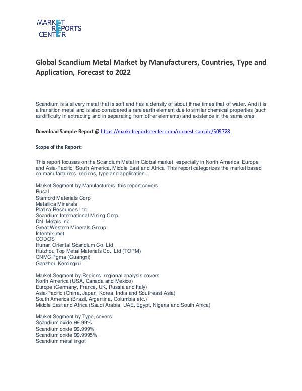 Scandium Metal Market Research Report Analysis To 2022 Scandium Metal Market
