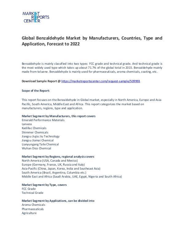 Benzaldehyde Market Research Report Forecasts To 2022 Benzaldehyde Market